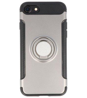 Hoesje voor Apple iPhone 7 / 8 Pantser TPU met Ringhouder Grijs