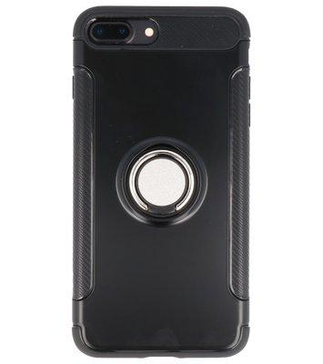 Hoesje voor Apple iPhone 7 Plus / 8 Plus Pantser TPU met Ringhouder Zwart