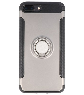 Hoesje voor Apple iPhone 7 Plus / 8 Plus Pantser TPU met Ringhouder Grijs