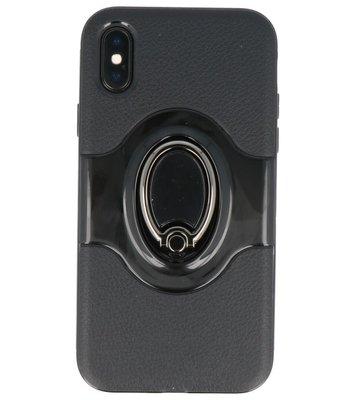 Hoesje voor Apple iPhone X Shield TPU met Ringhouder Zwart