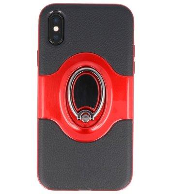 Hoesje voor Apple iPhone X Shield TPU met Ringhouder Rood