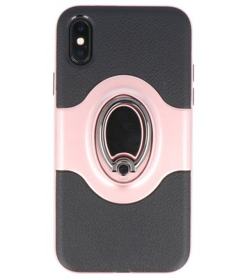 Apple iPhone X Shield TPU hoesje met Ringhouder Roze