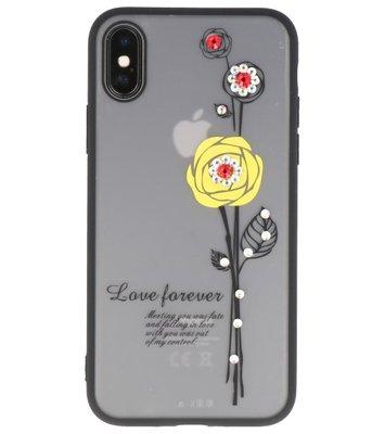 Hoesje voor Apple iPhone X Love Forever TPU Geel
