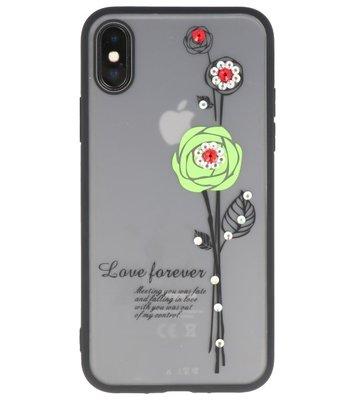 Hoesje voor Apple iPhone X Love Forever TPU Groen