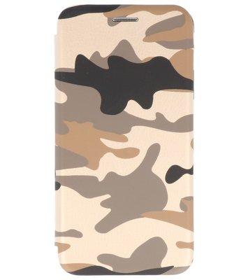 Bruin Army Folio leder look booktype Hoesje voor Apple iPhone X