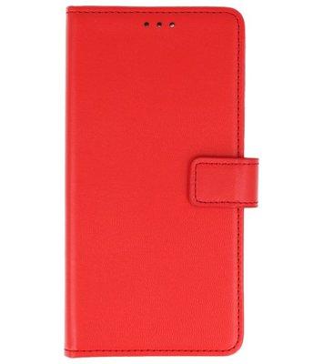Rood Lederlook booktype wallet case Hoesje voor Sony Xperia XA2