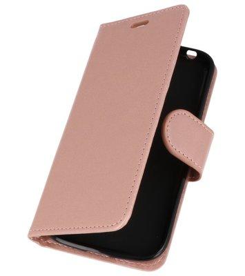 Roze Wallet Case Hoesje voor Nokia 1