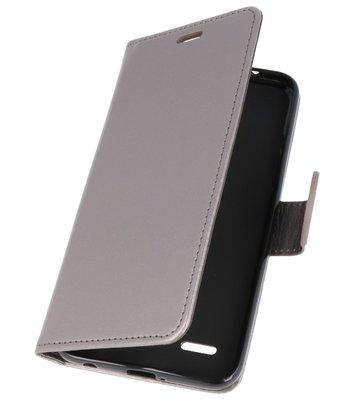 Grijs Wallet Case Hoesje voor LG K10 2018