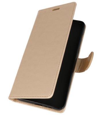 Goud Wallet Case Hoesje voor Samsung Galaxy A8 Plus 2018