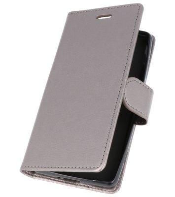 Grijs Wallet Case Hoesje voor Sony Xperia XZ2 Compact