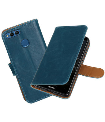 Blauw Pull-Up Wallet Case Hoesje voor Huawei P Smart
