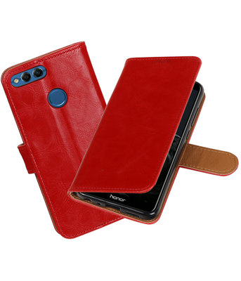 Rood Pull-Up Wallet Case Hoesje voor Huawei P Smart
