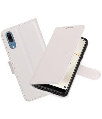 Wit Portemonnee Wallet Case Hoesje voor Huawei P20