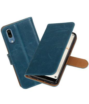 Blauw Pull-Up Wallet Case Hoesje voor Huawei P20