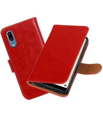 Rood Pull-Up Wallet Case Hoesje voor Huawei P20