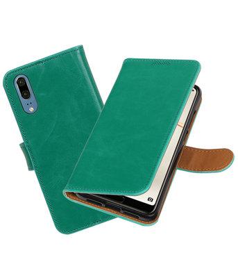 Groen Pull-Up Wallet Case Hoesje voor Huawei P20