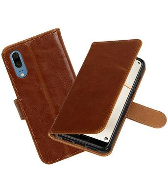 Bruin Pull-Up Wallet Case Hoesje voor Huawei P20