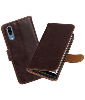 Mocca Pull-Up Wallet Case Hoesje voor Huawei P20