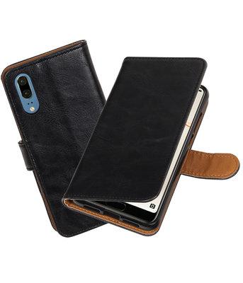 Zwart Pull-Up Wallet Case Hoesje voor Huawei P20