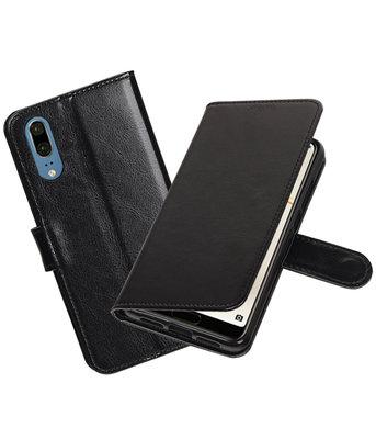 Zwart Portemonnee Wallet Case Hoesje voor Huawei P20
