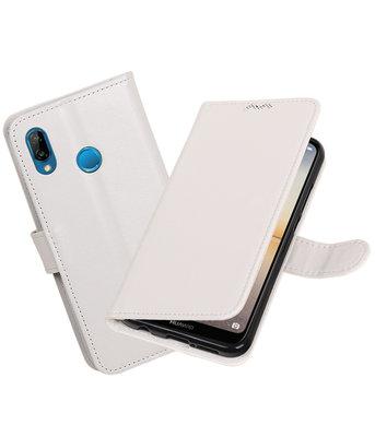 Wit Portemonnee Wallet Case Hoesje voor Huawei P20 Lite