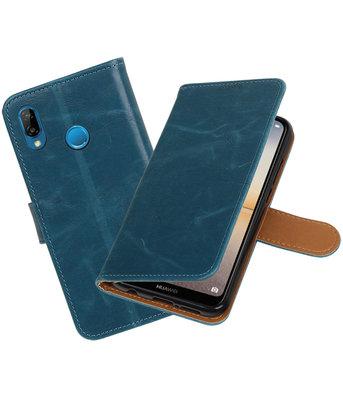 Blauw Pull-Up Wallet Case Hoesje voor Huawei P20 Lite