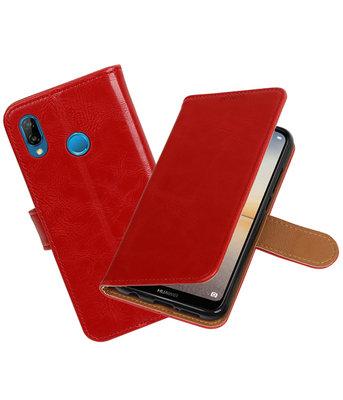 Rood Pull-Up Wallet Case Hoesje voor Huawei P20 Lite