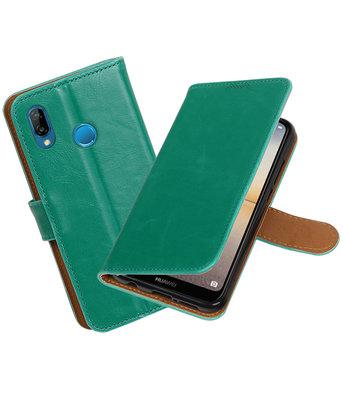 Groen Pull-Up Wallet Case Hoesje voor Huawei P20 Lite