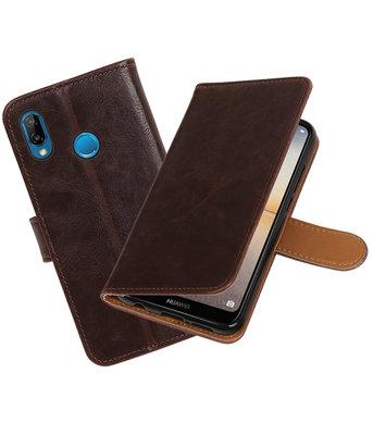 Mocca Pull-Up Wallet Case Hoesje voor Huawei P20 Lite
