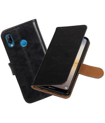 Zwart Pull-Up Wallet Case Hoesje voor Huawei P20 Lite