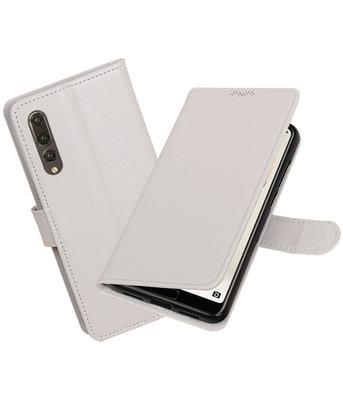 Wit Portemonnee Wallet Case Hoesje voor Huawei P20 Pro