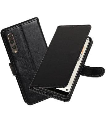 Zwart Portemonnee Wallet Case Hoesje voor Huawei P20 Pro