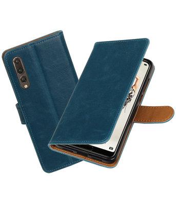 Blauw Pull-Up Wallet Case Hoesje voor Huawei P20 Pro