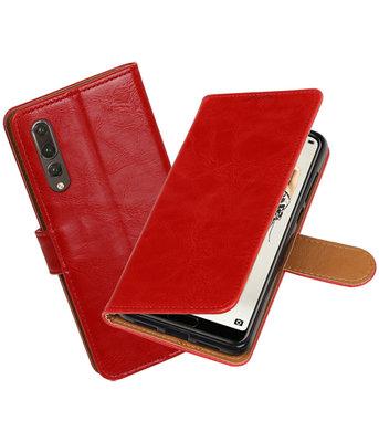 Rood Pull-Up Wallet Case Hoesje voor Huawei P20 Pro