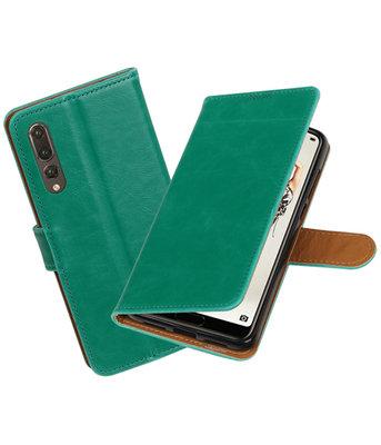 Groen Pull-Up Wallet Case Hoesje voor Huawei P20 Pro
