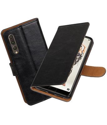 Zwart Pull-Up Wallet Case Hoesje voor Huawei P20 Pro