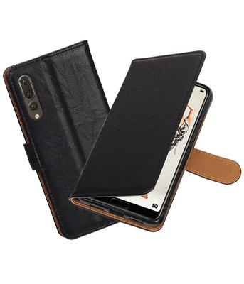 Zwart Echt Leer Leder wallet case hoesje voor Huawei P20 Pro