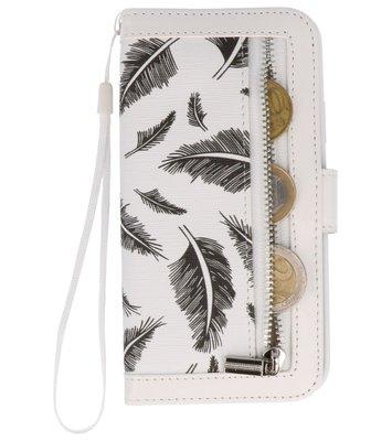 Wit Veer Luxe Portemonnee Hoesje voor Apple iPhone X