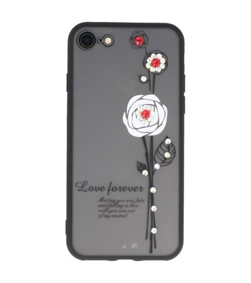 Wit Love Forever back case Hoesje voor Apple iPhone 7 / 8