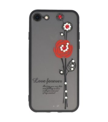 Rood Love Forever back case Hoesje voor Apple iPhone 7 / 8