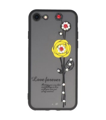 Geel Love Forever back case Hoesje voor Apple iPhone 7 / 8