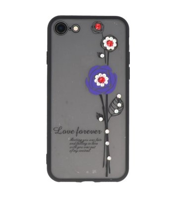 Paars Love Forever back case Hoesje voor Apple iPhone 7 / 8