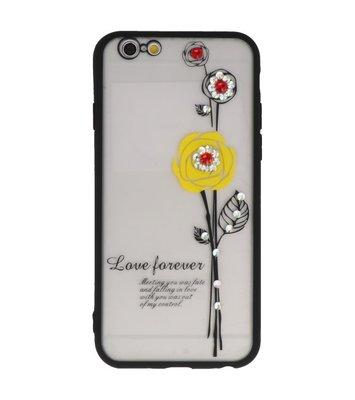 Geel Love Forever back case Hoesje voor Apple iPhone 6 / 6s