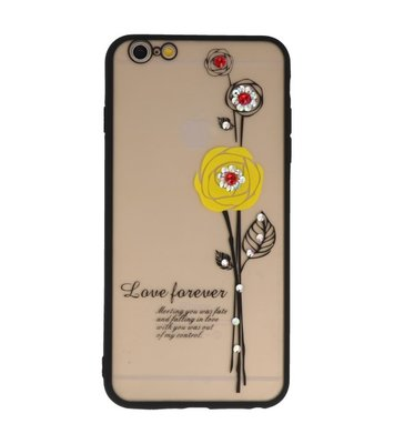 Geel Love Forever back case Hoesje voor Apple iPhone 6 Plus / 6s Plus