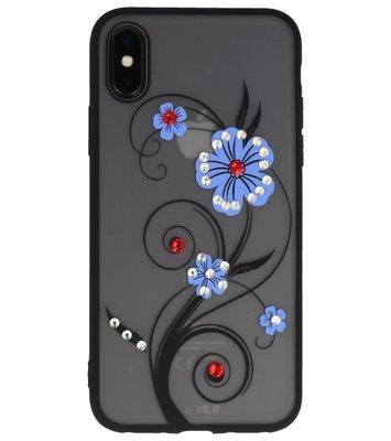 Blauw Lelie TPU backcase cover Hoesje met Diamant voor Apple iPhone X
