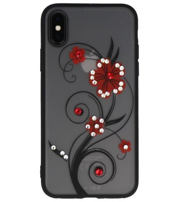 Rood Lelie TPU backcase cover Hoesje met Diamant voor Apple iPhone X
