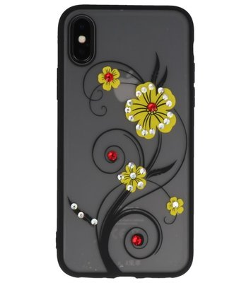 Geel Lelie TPU backcase cover Hoesje met Diamant voor Apple iPhone X