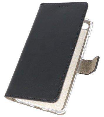 Zwart booktype wallet case Hoesje voor Huawei Y6 2018