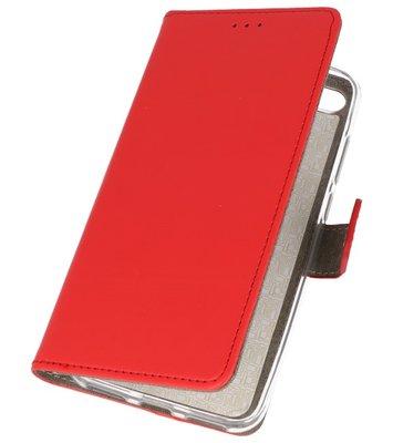 Rood booktype wallet case Hoesje voor Huawei Y6 2018