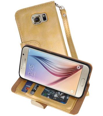 Goud Luxe Portemonnee Hoesje voor Samsung Galaxy S6